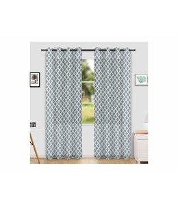 "LAUREN TAYLOR SANTORINI 2PK PRINTED SHEER GROMMET WINDOW PANEL (MP6) 52X84"" WHITE/BLUE"