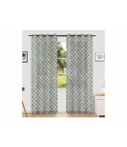 "LAUREN TAYLOR *NAXOS 2PK PRINTED SHEER GROMMET WINDOW PANEL (MP6) 52X84"" WHITE/GREY"