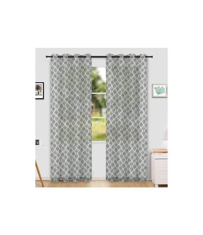 "LAUREN TAYLOR NAXOS 2PK PRINTED SHEER GROMMET WINDOW PANEL (MP6) 52X84"" WHITE/GREY"