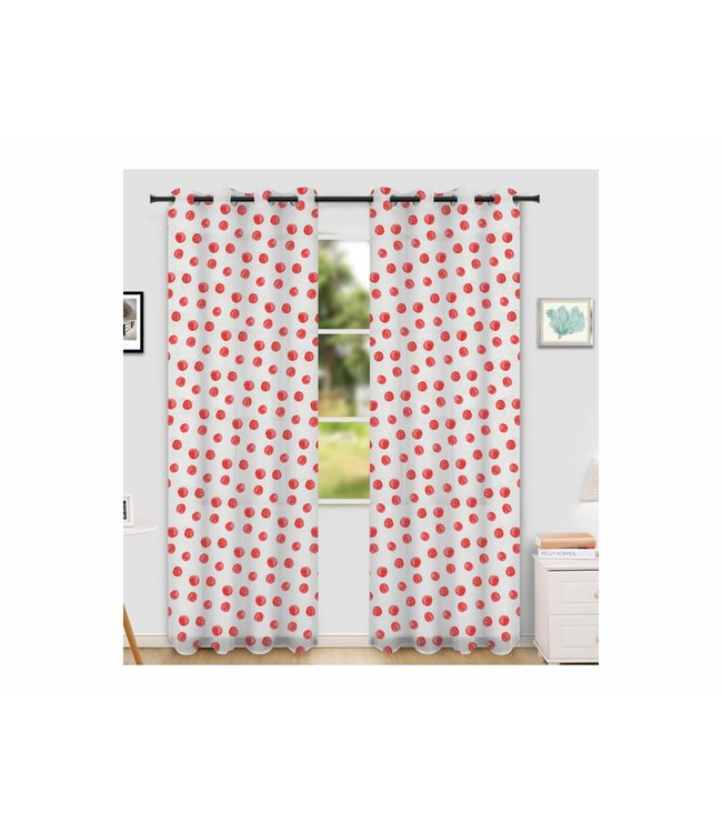 "LAUREN TAYLOR CALYPSO 2PK PRINTED SHEER GROMMET WINDOW PANEL (MP6) 52X84"" WHITE/CORAL"