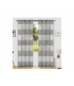 "LAUREN TAYLOR *NIKO 2PK PRINTED SHEER GROMMET WINDOW PANEL (MP6) 52X84"" GREY"