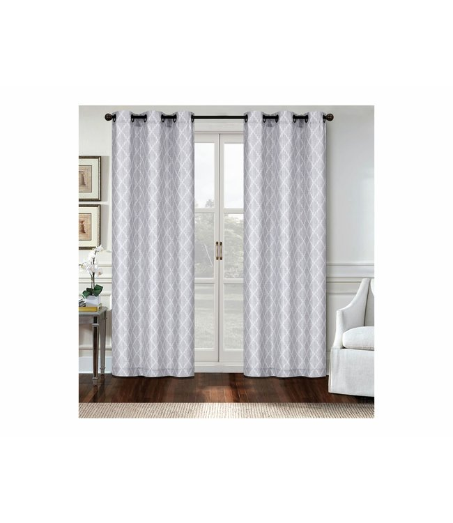 "LAUREN TAYLOR *AMALFI 2PK CANVAS GROMMET WINDOW PANEL (MP6) 38X84"" GREY"