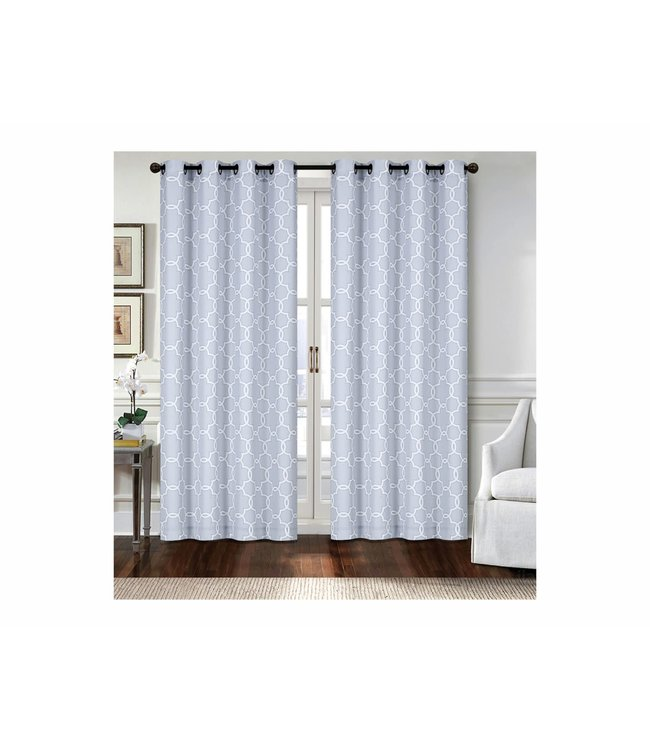 "LAUREN TAYLOR VENICE 2PK CANVAS GROMMET WINDOW PANEL (MP6) 52X84"" GREY"