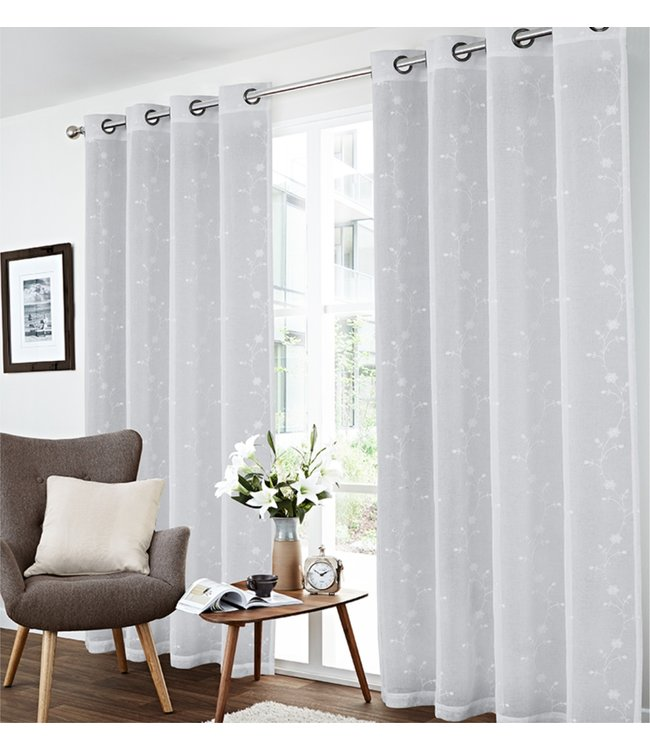 "LAUREN TAYLOR *MIRANDA 2PK FLORAL EMBROIDERED SHEER GROMMET WINDOW PANEL (MP6) 52X84"" WHITE"