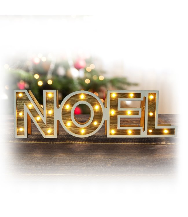 "LAUREN TAYLOR LED WOOD LOOK SIGN NOEL 15X4"" (MP12)"