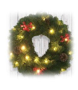 "LAUREN TAYLOR LED CHRISTMAS WREATH 15"" (MP6)"