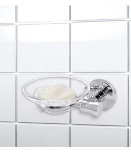"LAUREN TAYLOR ROUND STAINLESS STEEL/GLASS WALL MOUNTED SOAP DISH 5.5X2X4"" (MP12)"