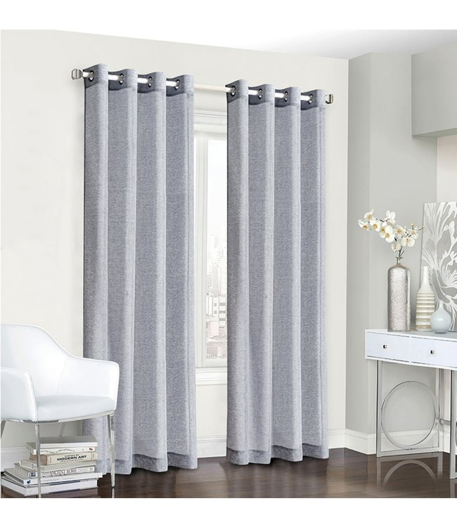 LAUREN TAYLOR GENEVA 2PK FAUX LINEN GROMMET WINDOW PANEL (MP6) 54X84""