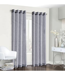 LAUREN TAYLOR *VIENNA 2PK JACQUARD GROMMET WINDOW PANEL (MP12) GREY