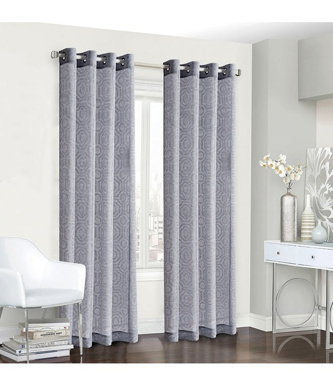 LAUREN TAYLOR VIENNA 2PK JACQUARD GROMMET WINDOW PANEL (MP12) GREY