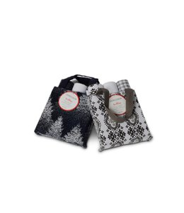 "3PK HOLIDAY TEA TOWELS 16X28"" IN GIFT BAG SILVER (MP8)"