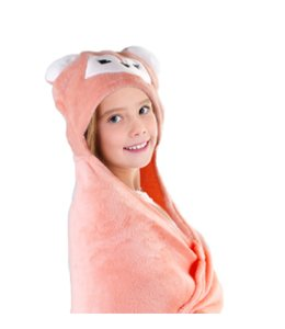 "mari & mac ANIMAL FLEECE HOODED THROWS 40X50"" (MP6)"
