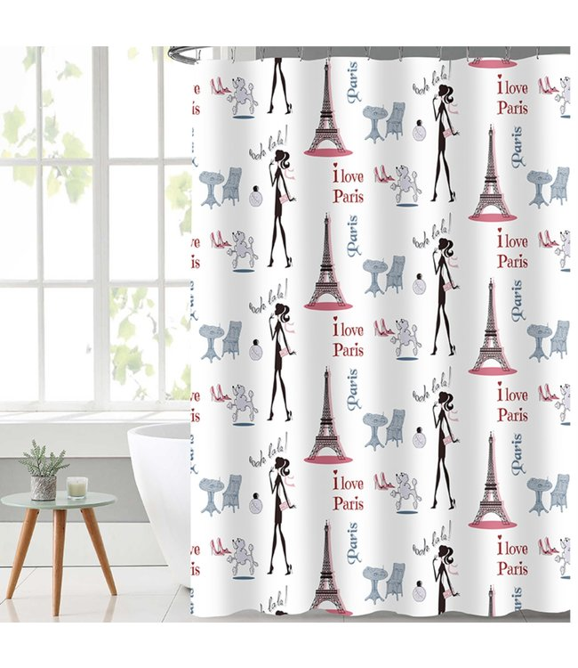 "OOH LALA SHOWER CURTAIN WHITE 70X72"" (MP12)"