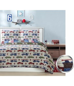 mari & mac FIRETRUCKS 3PC QUILT SET (MP2) DOUBLE/QUEEN