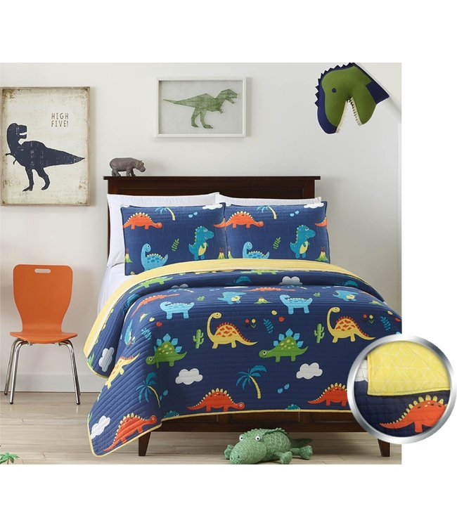 mari & mac DINOSAURS & VOLCANOES 2PC QUILT SET (MP2) TWIN