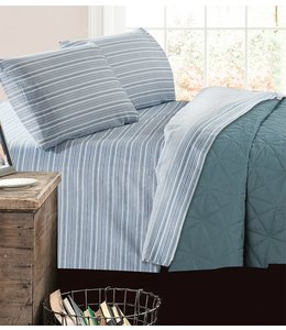 mari & mac PATCHWORK STRIPE MICRO FIBER PRINTED AST SHEET SET (MP4) TWIN