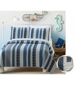 mari & mac PATCHWORK STRIPE MICRO FIBER PRINTED AST SHEET SET (MP4) DOUBLE