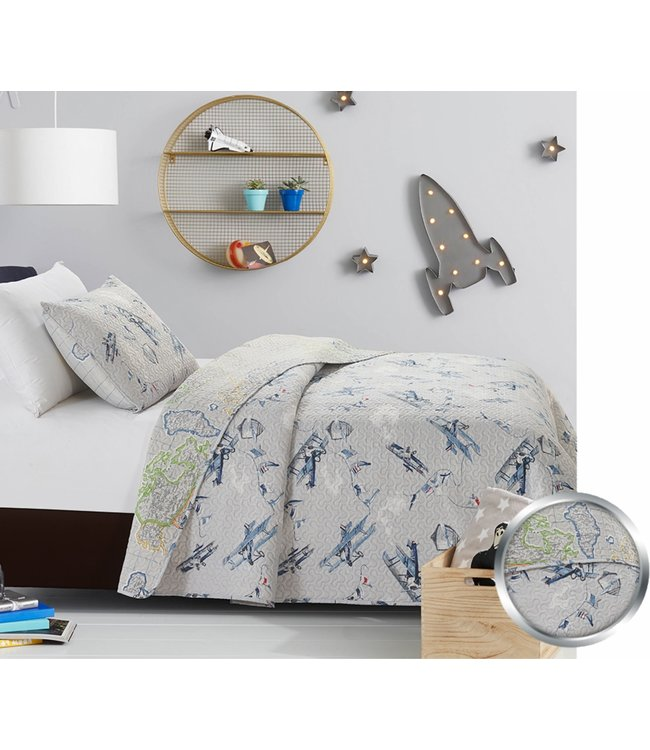 mari & mac VINTAGE AIRPLANES 2PC QUILT SET (MP2) TWIN