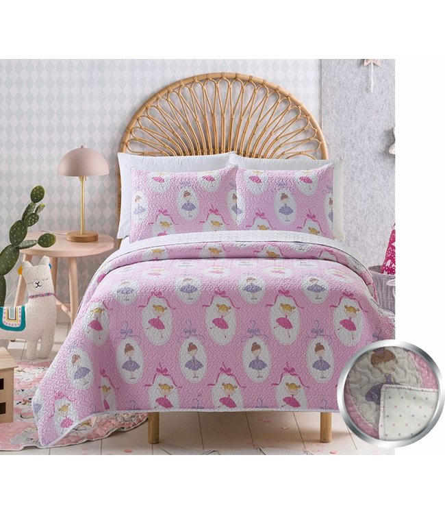 mari & mac BALLERINA 3PC QUILT SET (MP2) DOUBLE/QUEEN