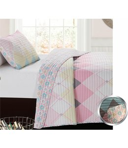 mari & mac PASTEL ARGYLE 3PC QUILT SET (MP2) DOUBLE/QUEEN