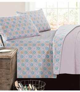 mari & mac PASTEL ARGYLE MICRO FIBER PRINTED AST SHEET SET (MP4) TWIN