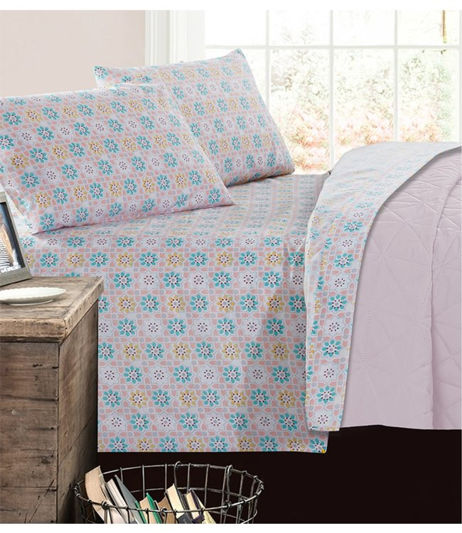 mari & mac PASTEL ARGYLE MICRO FIBER PRINTED AST SHEET SET (MP4) DOUBLE