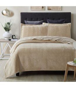 LAUREN TAYLOR BIANCA FLEECE QUILT SET (MP2)