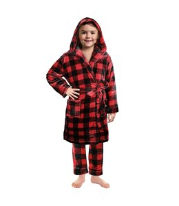 BUFFALO PLAID KIDS UNISEX BATHROBE RED/BLACK