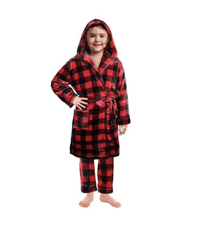 BUFFALO PLAID KIDS UNISEX BATHROBE RED/BLACK