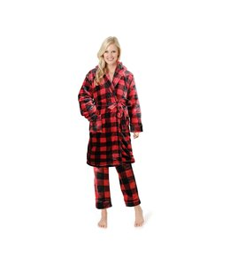 BUFFALO PLAID LADIES SHAWL COLLAR BATHROBE RED/BLACK (MP12)
