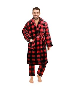 BUFFALO PLAID MENS SHAWL COLLAR BATHROBE RED/BLACK (MP12)