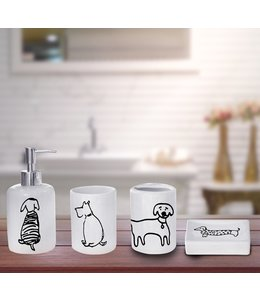 LAUREN TAYLOR DOGGY 4PK BATHROOM ACCESSORY SET (MP12) WHITE