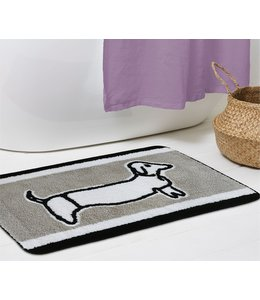 LAUREN TAYLOR DOGGY BATH MAT  TAUPE/BLACK/WHITE (MP12) 20X30