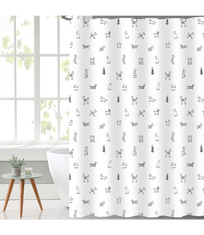 LAUREN TAYLOR DOGGY SHOWER CURTAIN BLACK/WHITE (MP12)