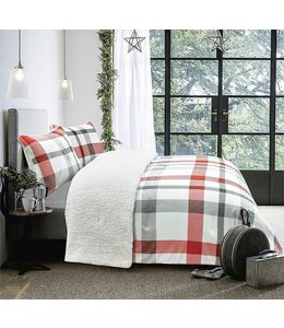 LAUREN TAYLOR BELLEVUE PLAID FLEECE REVERSE TO SHERPA COMFORTER SET (MP2)