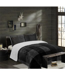 LAUREN TAYLOR ASPEN PLAID FLEECE REVERSE TO SHERPA COMFORTER SET (MP2)