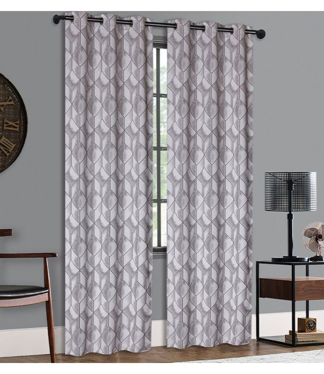 "LAUREN TAYLOR PRIYA 2PK JACQUARD GROMMET WINDOW PANELS GREY 38X84"" (MP12)"