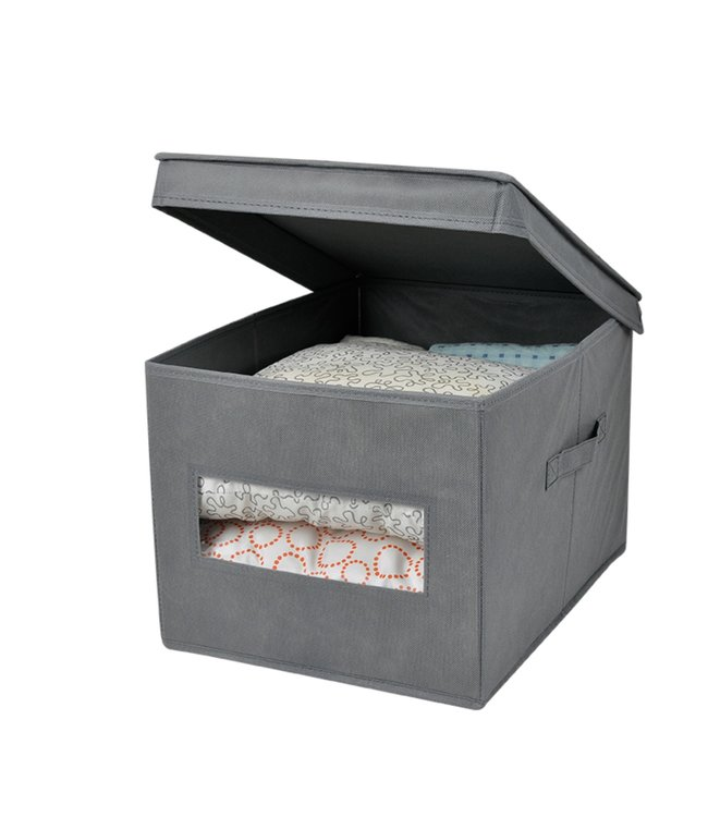 "ADRIEN LEWIS STORAGE BOX w/LID AND WINDOW 12X16X10"" (MP24)"