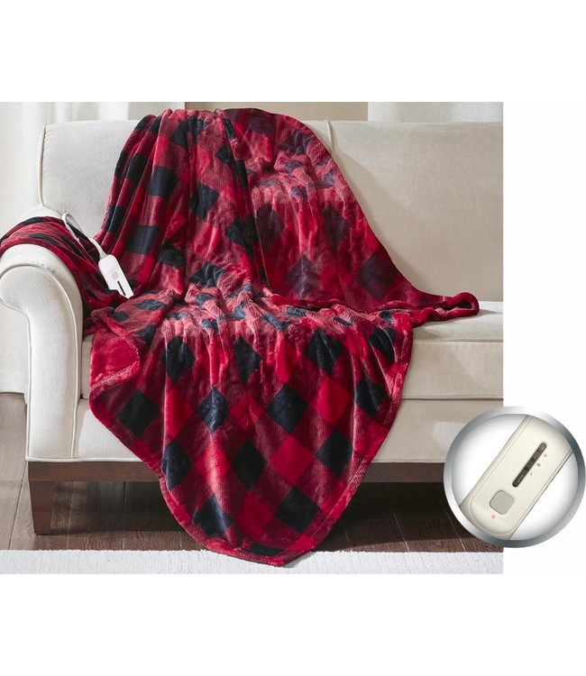 BUFFALO PLAID ELECTRIC HEATED THROW AST 45X60""