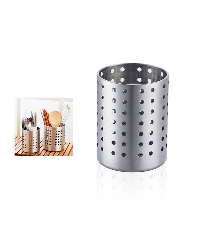 "A LA CUISINE STAINLESS STEEL ROUND COUNTER TOP CUTLERY HOLDER 5"" (MP12)"