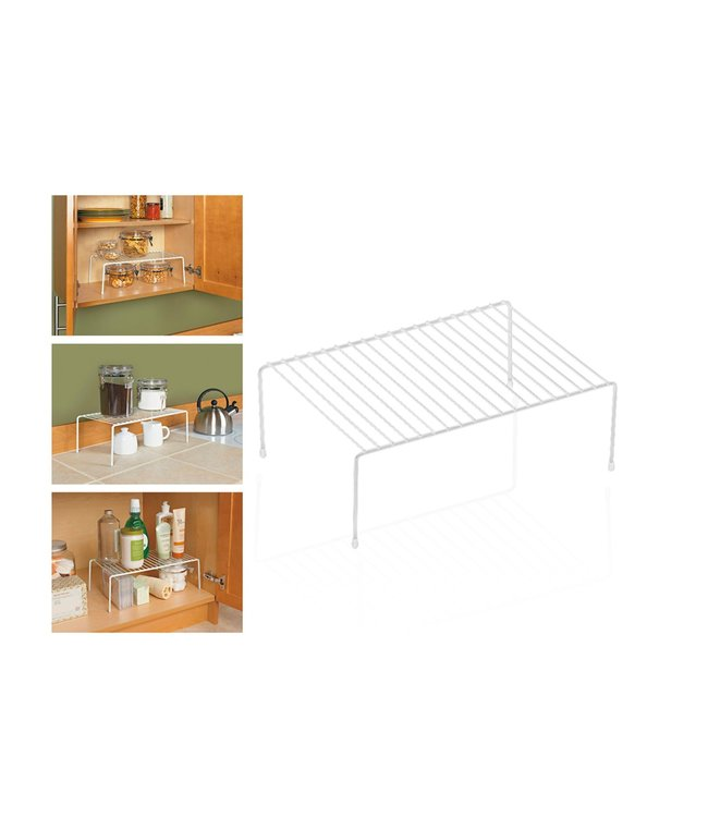 "A LA CUISINE WHITE WIRE SHELF CUPBOARD ORGANIZER 15X10.24X5.3"" (MP6)"
