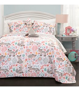 LITTLE ADRIEN FELICIA THE FOX JUVENILE QUILT SET CORAL (MP2) 3PC TWIN