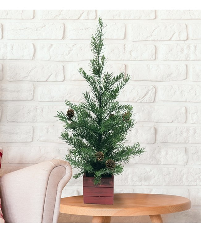 """MINI CHRISTMAS TREE IN WOODEN RED BOX BASE 24"""" (MP8)"""