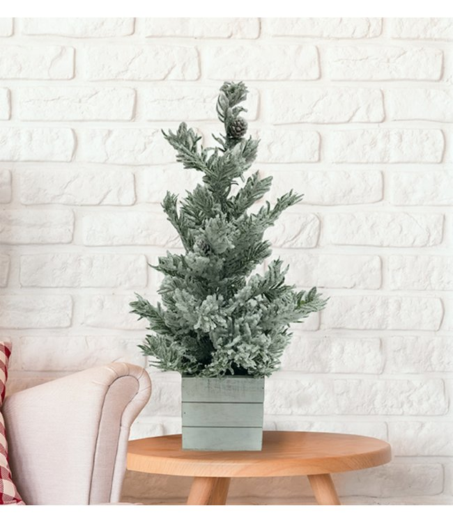 "MINI CHRISTMAS TREE IN WOODEN WHITE BOX BASE 24"" (MP8)"