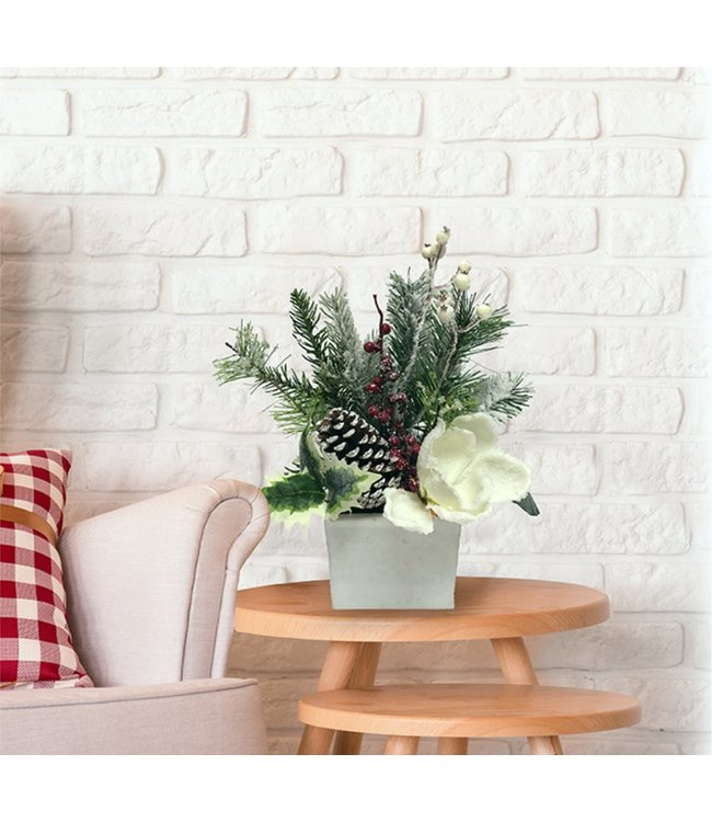 "CHRISTMAS FLORAL IN WOODEN WHITE BOX 24"" (MP8)"