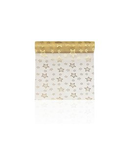 TABLE RUNNER CHRISTMAS STARS FOIL GOLD (MP12)