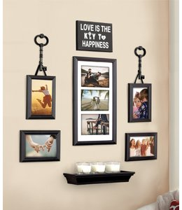 LAUREN TAYLOR LOVE IS KEY TO HAPPINESS 7PC PICTURE FRAME SET BLACK (MP8)