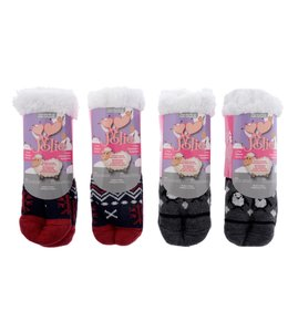 KIDS SHERPA LINED SLIPPER SOCK O/S (MP48)