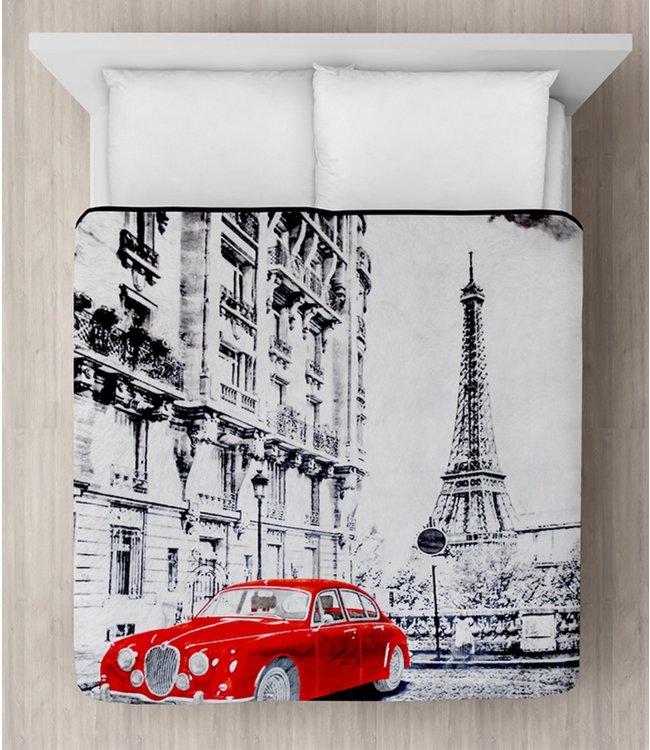 "LAUREN TAYLOR MICRO MINK BLANKET 78X94"" (MP3) RED CAR IN PARIS"