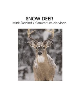 "LAUREN TAYLOR MICRO MINK BLANKET 78X94"" (MP3) SNOW DEER"